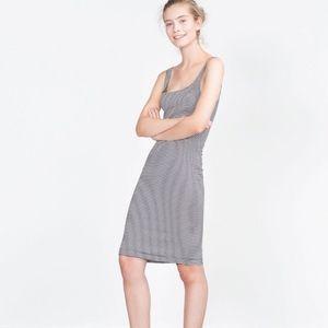 Zara Basic Sleeveless Striped Midi Dress